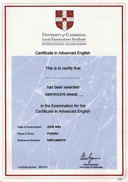 certyfikaty jezykowe CAE